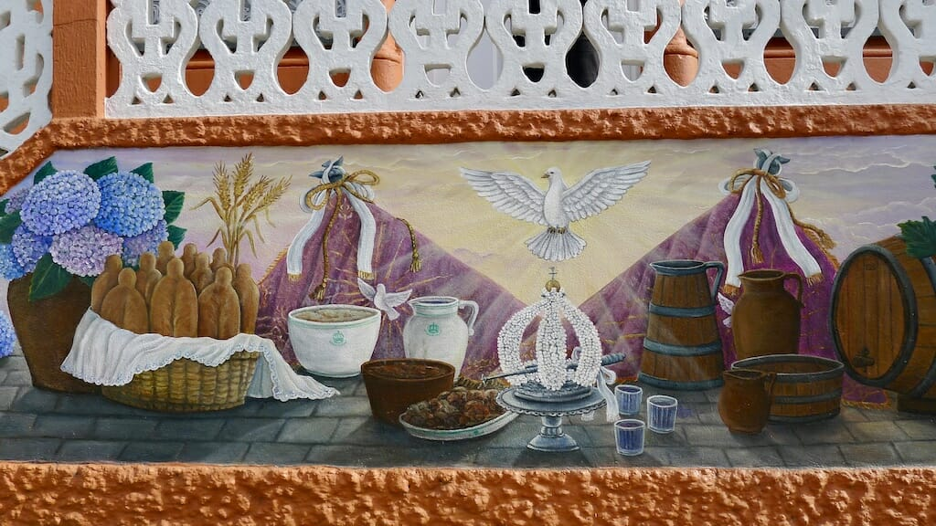 A mural of the Holy Spirit Feast at Azores, photo by Paul Ames