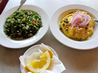 Café Avissinia's tabbouleh and Santorini fava with capers and onions, photo by Diana Farr Louis