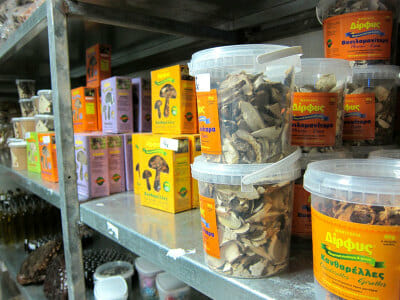 Dirfys's dried mushrooms, photo courtesy of Dirfys