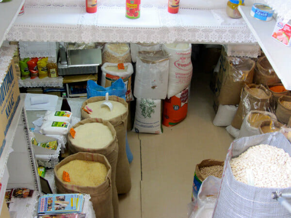 Dry goods in a basement-level shop in Athens' Central Market district, photo by Diana Farr Louis