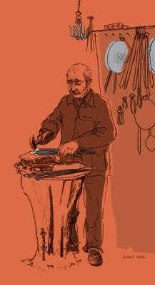 Making shish for the kebab trade, Bakırcılar Çarşısı (Coppersmiths Bazaar), Gaziantep, illustration by Suzan Aral