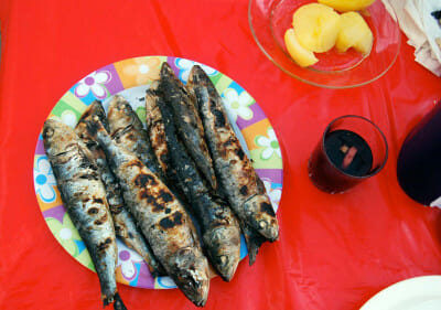 Grilled sardines at the Santo António festival, photo by Célia Pedroso