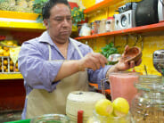 My go-to man for juices and eskimos. Here he makes an eskimo with mamey, which is like a fruitier version of an avocado.