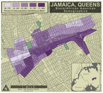 African-American demographics of Jamaica, Queens, map by Sarah Khan