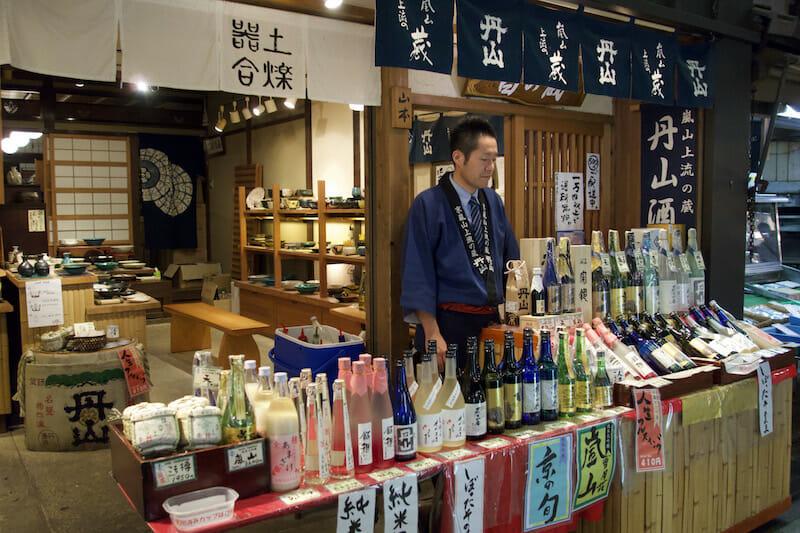 Tanabeya in Nishiki Market carries many local sakes offers free tastings, photo by Fran Kuzui